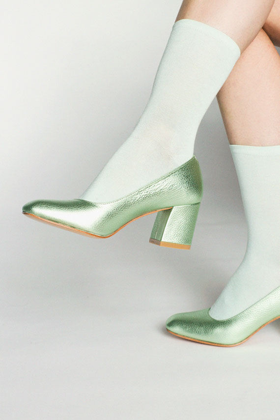 Mint Flatknit Silk Crew Sock