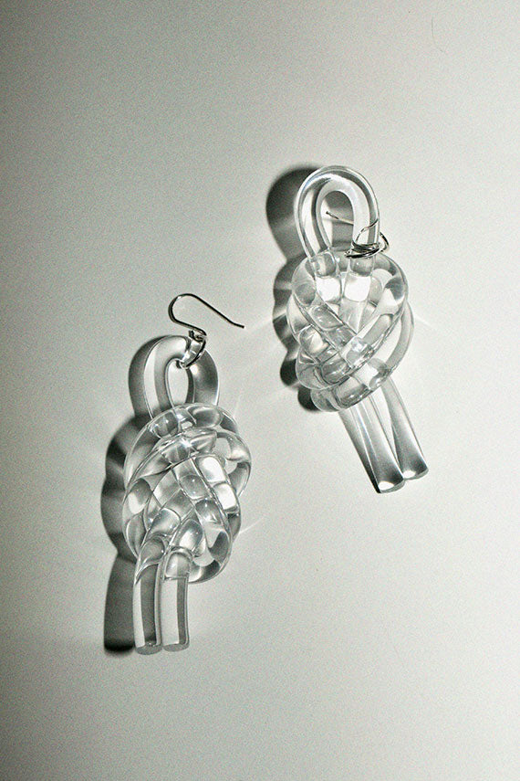 Clear Double Knot Earrings