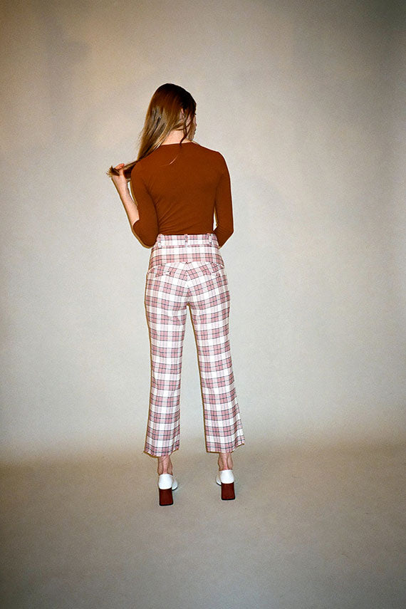 Plaid Flare Leg Trouser