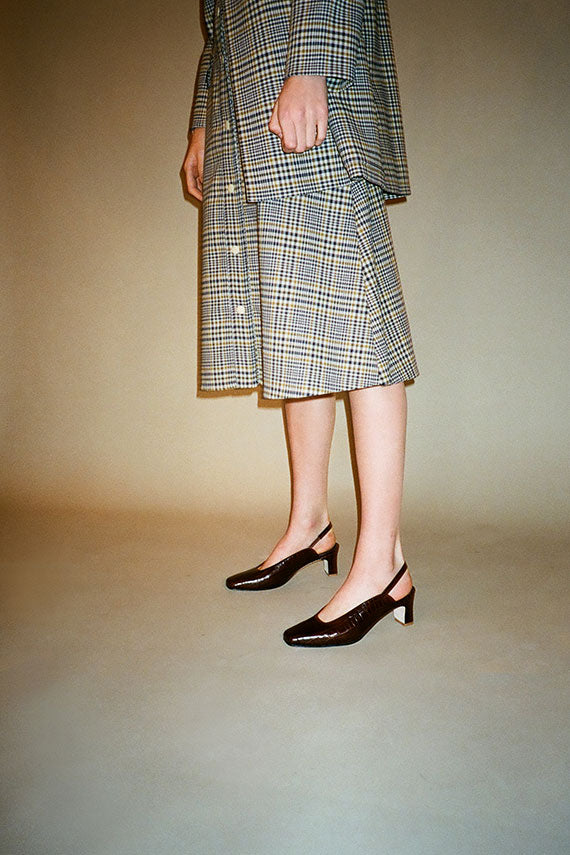 Plaid Elizabeth Snap Front Skirt