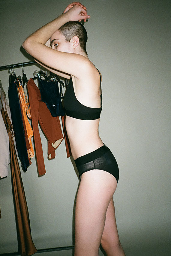 Black Triangle Rib Bra