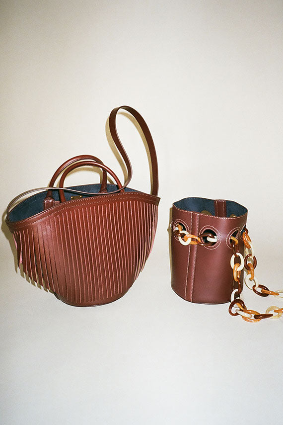 Bordeaux Fringe Leather Basket