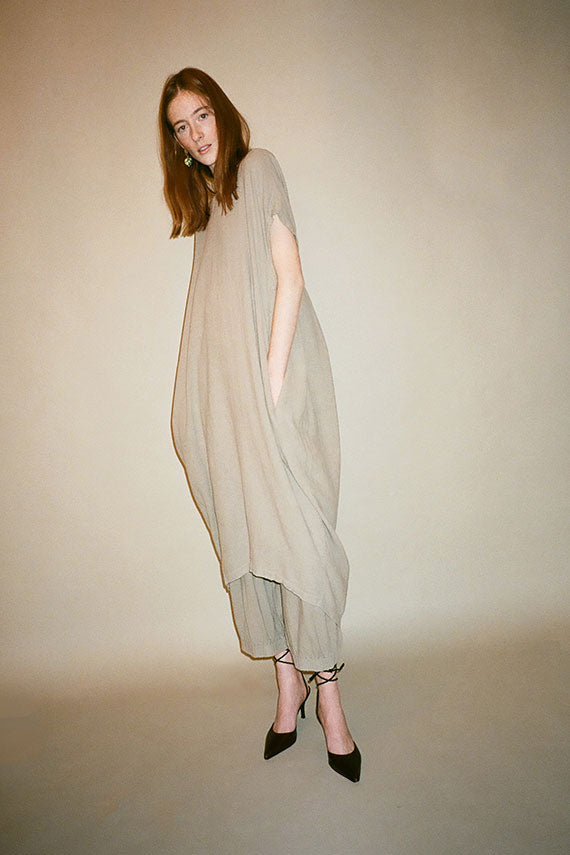 Sand Pleated Cocoon Dress