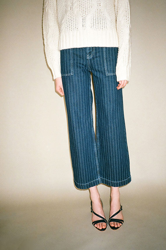 Railroad Stripe Romeo Wide Leg Pant