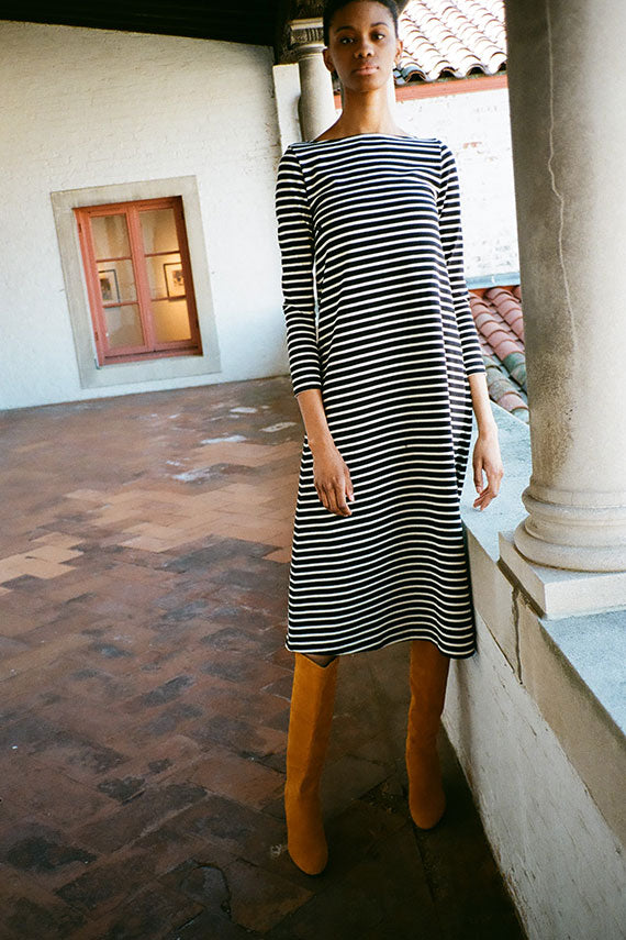Black Stripe Leila Dress