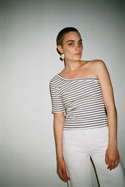 Navy Striped Ras Top
