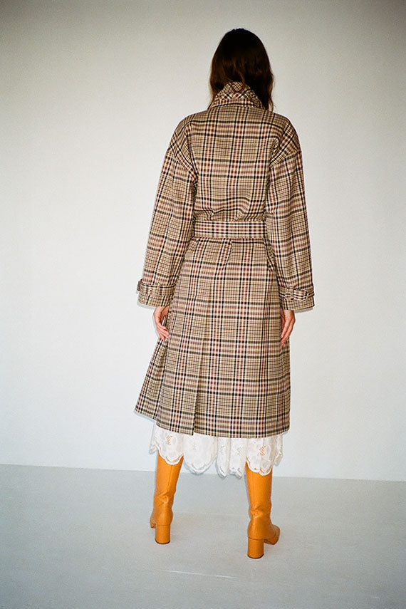 Tan Multi Plaid Oversize Trench