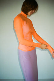Fluro Orange Long Sleeve Mockneck