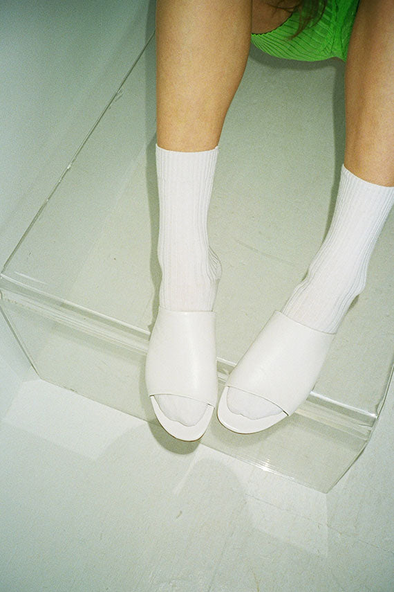White Rib Ankle Socks