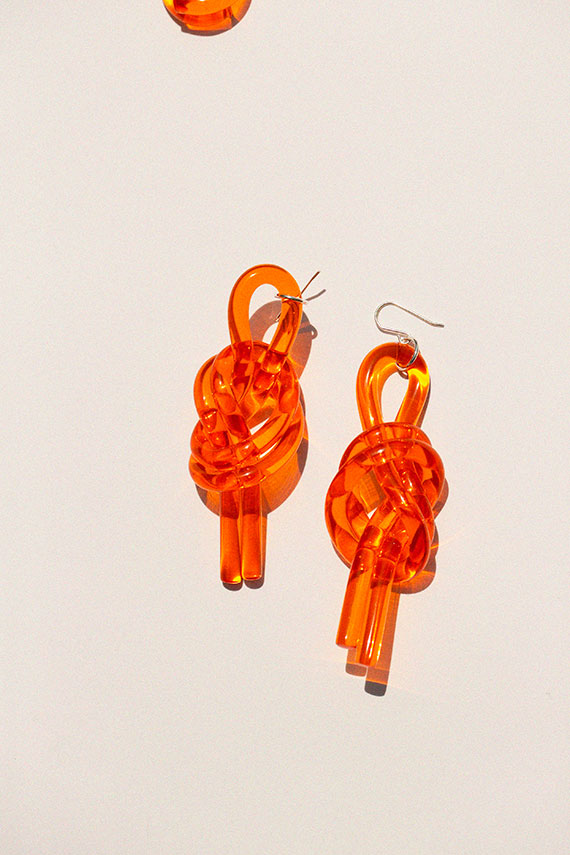 Orange Double Knot Earrings