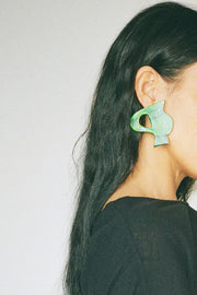 Green Hand Painted Vase Earrings