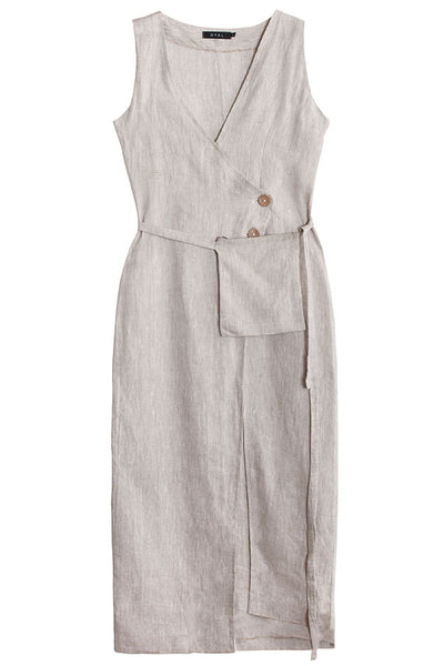 Linen Dress with side Pouch