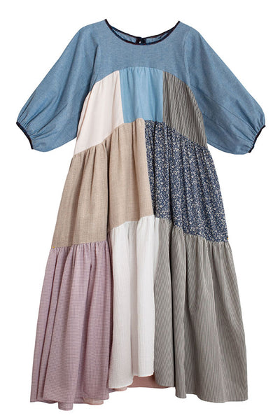 Neutral Puff Sleeve Patchwork Dress