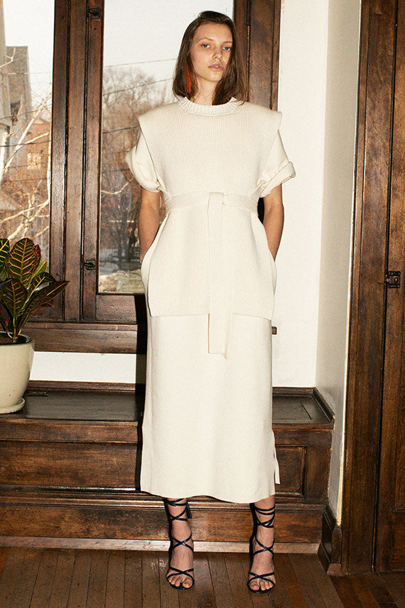 Raw White Interlock Tall T Dress