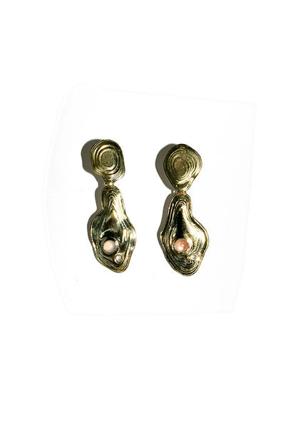 Brass Lava Drop Earrings
