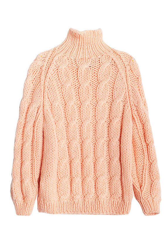 Soft Pink Cable Knit Turtle