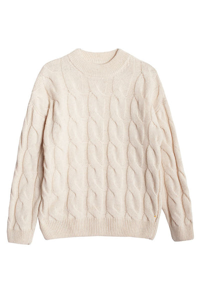 Ivory Cable Crew Neck Sweater