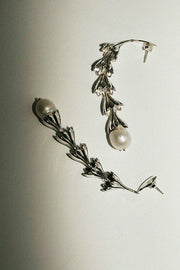 Silver Tiered Anemone Pearl Drop Earrings