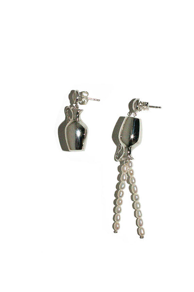 Silver Mismatched Vessel Drop Earrings