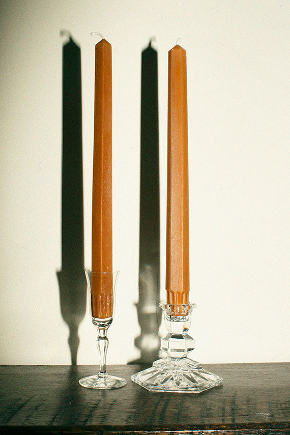 "Camel 10"" Hex Taper Candles"