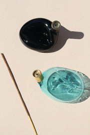 Teal Blown Glass Incense Burner