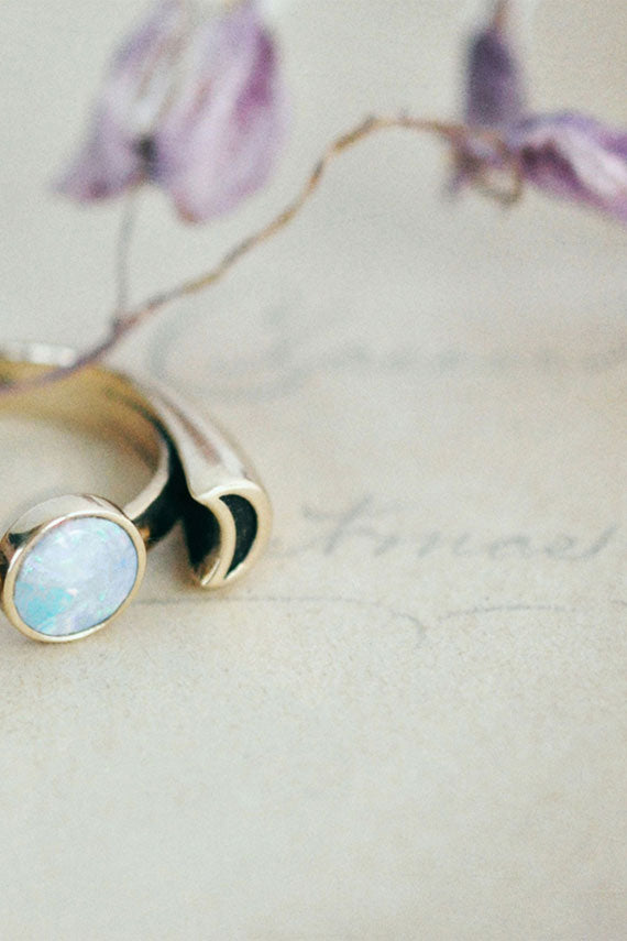10K Gold Luna Ring w/ Opal