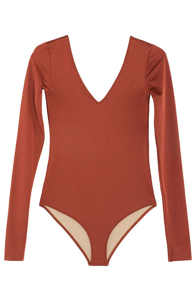 Brown Iscias Long Sleeve Swim
