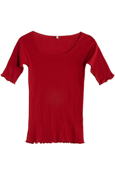 Cherry Red Pama 3/4 Rib Tee