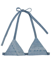Bit of denim handmade triangle bikini top, made in the USA from repurposed materials