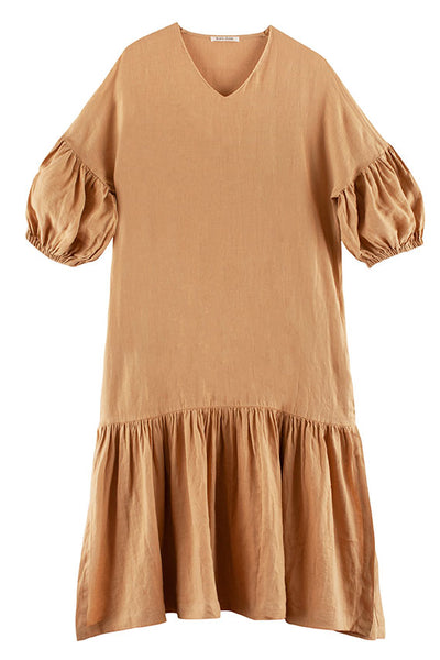 Black Crane - Tan Puff Sleeve Dress