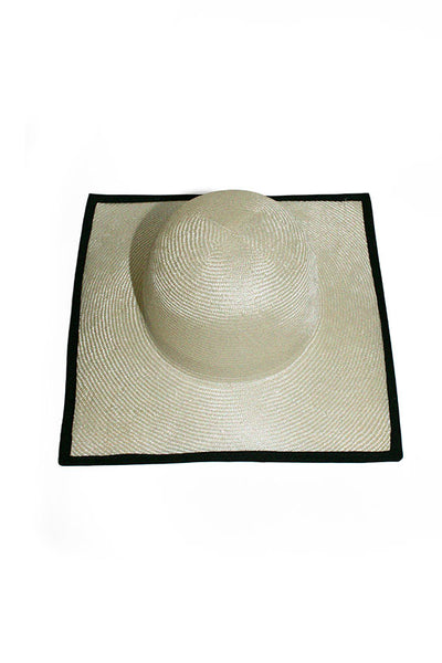 Ivory & Black Square Hat