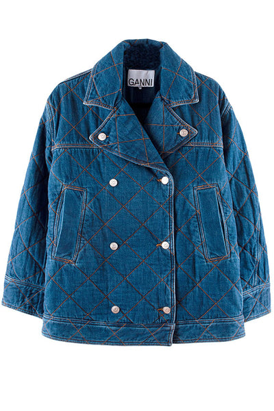 Ganni - Oversized Denim Quilted Coat
