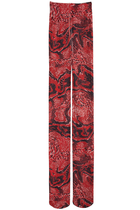 Fiery Red Printed Stocking