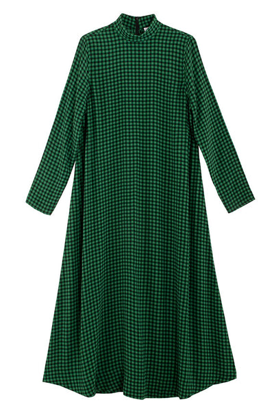 mockneck long sleeve green check georgette dress by Ganni