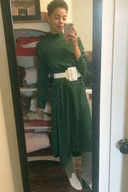 Green Check Georgette Dress