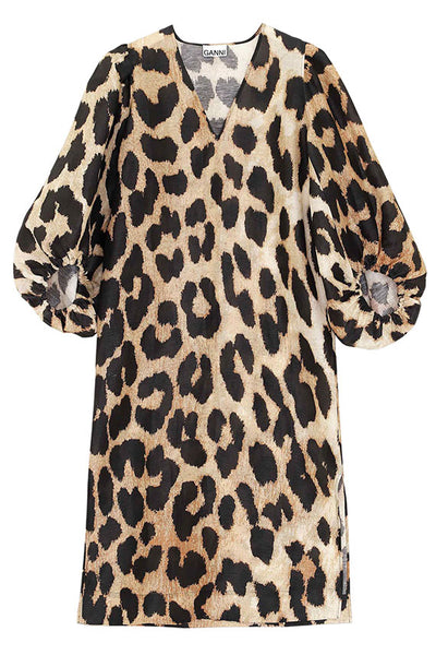 Maxi Leopard Puff Sleeve Dress