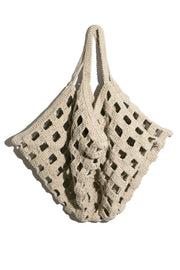 Natural Crochet Grid Bag