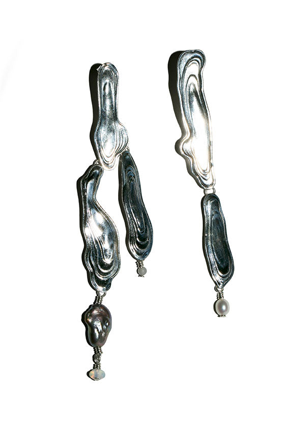Silver Current Earrings