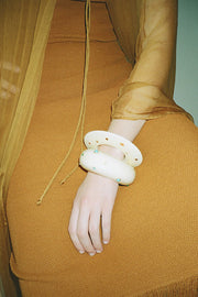 Cream Dotted Arc Cuff