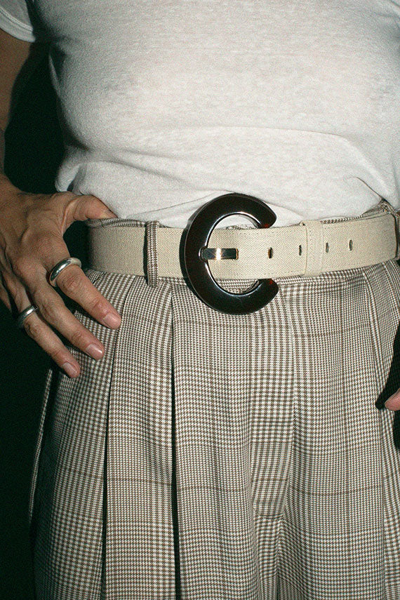 Cream Linen Sofia Belt