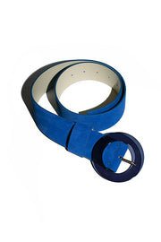 Lizzie Fortunato electric blue suede belt with round, translucent acrylic buckle