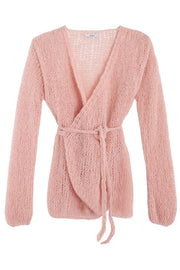 Maiami knit wrap cardigan, ballet pink with bell sleeves and tie waist.