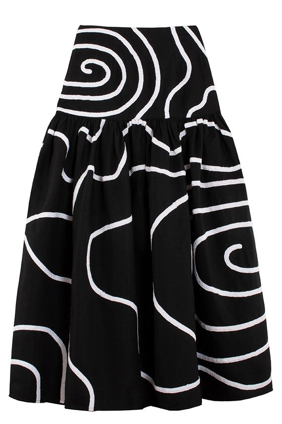 Mara Hoffman Linni skirt in black and white applique swirl pattern. Prarie style full skirt.