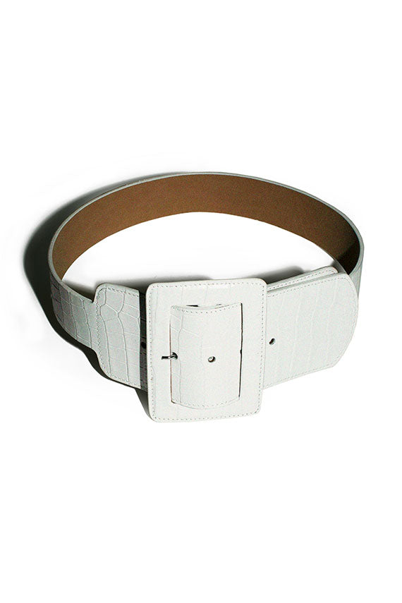 vintage inspired belt by Maryam Nassir Zadeh, white leather in  faux croc