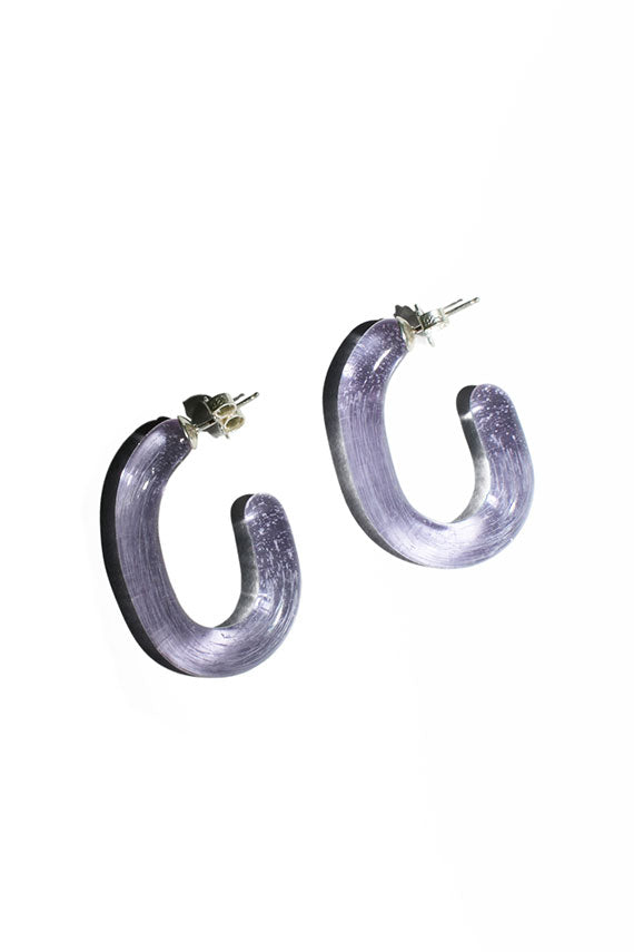 Lavender Glass Hoops
