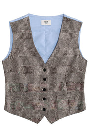 Umber stable vest in houndstooth plaid, slim fits with V neck and button front