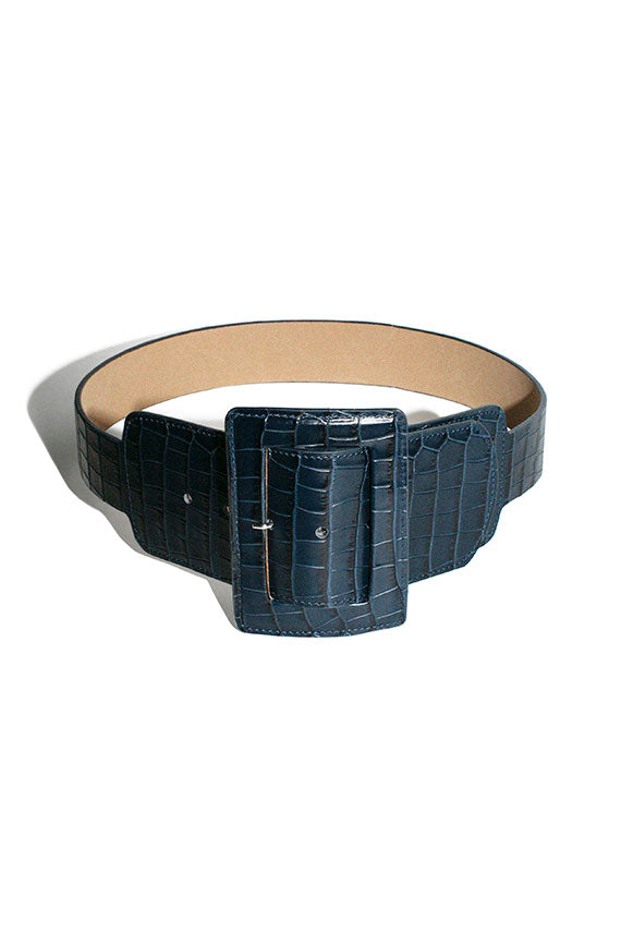 Navy Croc Win Belt
