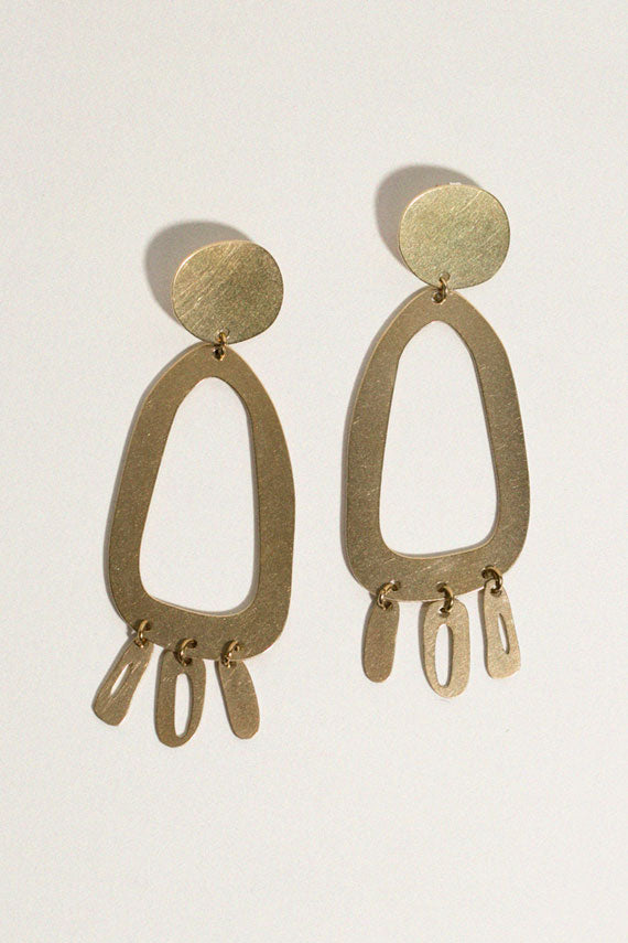 Brass Odd Oval Earrings