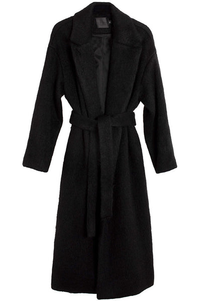 Black Mohair Ingrid Wrap Coat