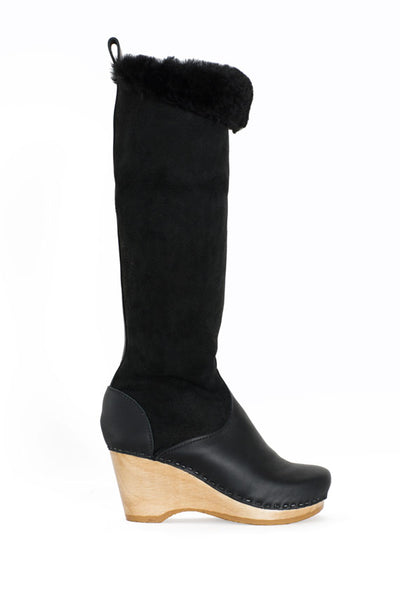 "Black 15"" Shearling Wedge Boot"